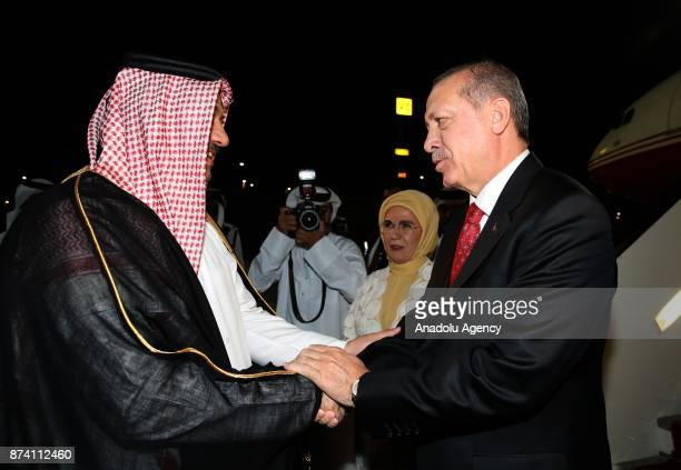 Turkish President Recep Tayyip Erdogan and his wife Emine Erdogan is welcomed by Minister of State for Defense of Qatar Khalid bin Mohammad Al...