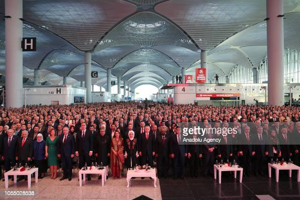 Turkish President Recep Tayyip Erdogan and his wife Emine Erdogan attend the opening ceremony of Istanbul's new airport in Istanbul Turkey on October...