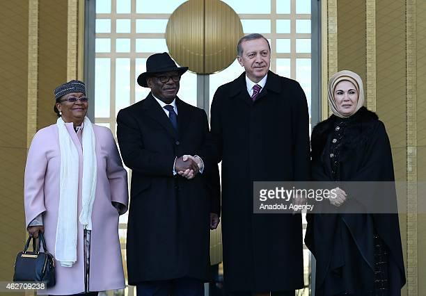 Turkish President Recep Tayyip Erdogan and his wife Emine Erdogan welcome Malian President Ibrahim Boubacar Keita and his wife Aminata Maiga Keita as...