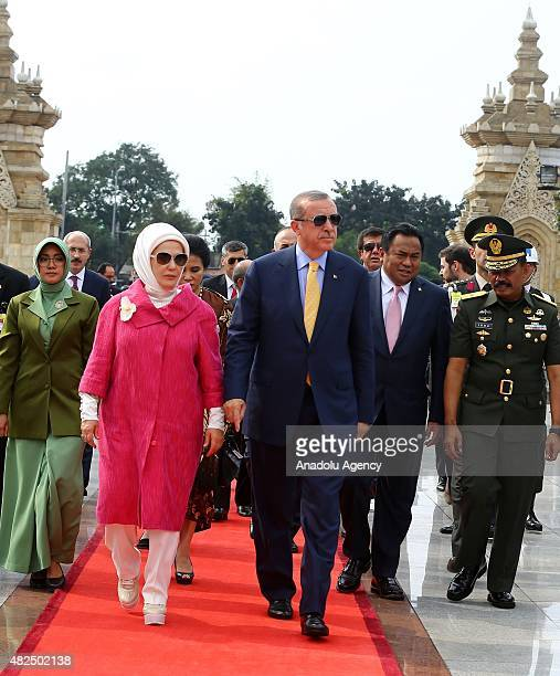 Turkish President Recep Tayyip Erdogan and his wife Emine Erdogan visits Kalibata Heroes Cemetery in Jakarta Indonesia on July 31 2015