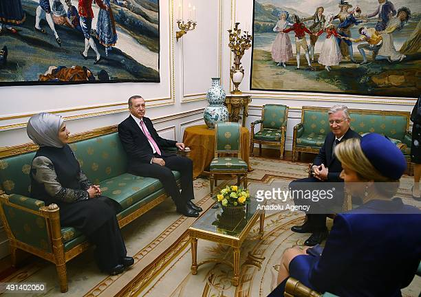 Turkish President Recep Tayyip Erdogan and his wife Emine Erdogan meet with Belgian King Philippe and Queen Mathilde at the Royal Palace in Brussels...
