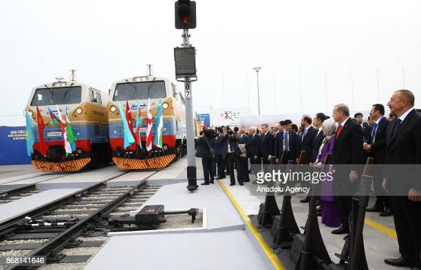Turkish President Recep Tayyip Erdogan and his wife Emine Erdogan attend the opening ceremony of the first official train service of BakuTbilisiKars...