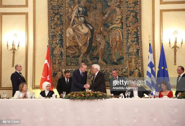 Turkish President Recep Tayyip Erdogan and his wife Emine Erdogan Greek President Prokopis Pavlopoulos and his wife Vlasia Pavlopoulou Chief of the...