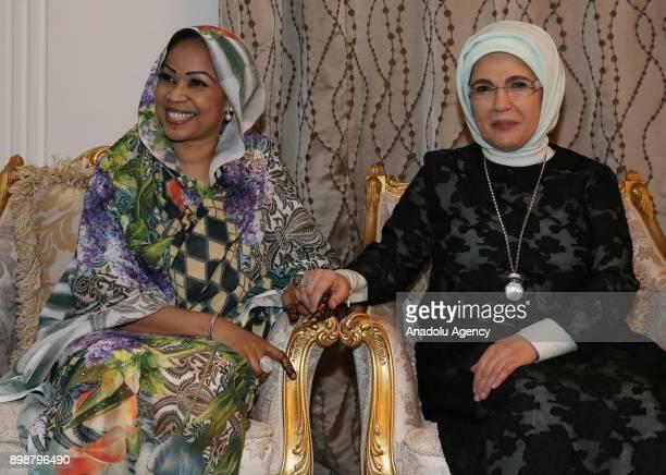 N'DJAMENA CHAD DECEMBER 26 Turkish President Recep Tayyip Erdogan and his wife Emine Erdogan meet with President of Chad Idriss Deby and his wife...