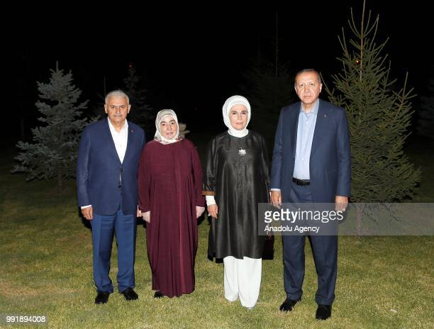Turkish President Recep Tayyip Erdogan and his wife Emine Erdogan meet Turkish Prime Minister Binali Yildirim and his wife Semiha Yildirim in Ankara...