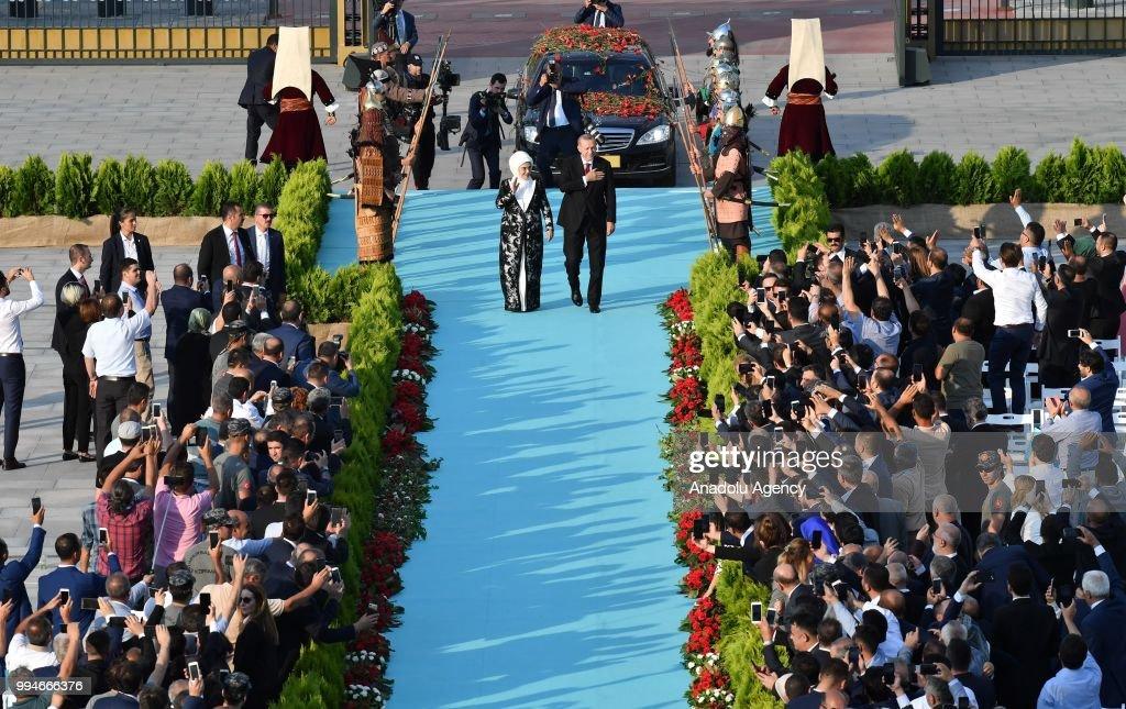 Turkish president recep tayyip erdogans inauguration ceremony turkish president recep tayyip erdogan r and his wife emine erdogan l m4hsunfo