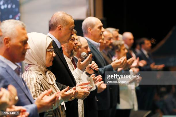 Turkish President Recep Tayyip Erdogan and his wife Emine Erdogan pray during July 15 Democracy and National Unity Day event at 15 July Martyrs...