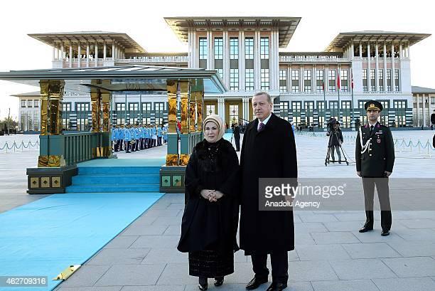 Turkish President Recep Tayyip Erdogan and his wife Emine Erdogan wait to welcome Malian President Ibrahim Boubacar Keita as Turkish Presidential...