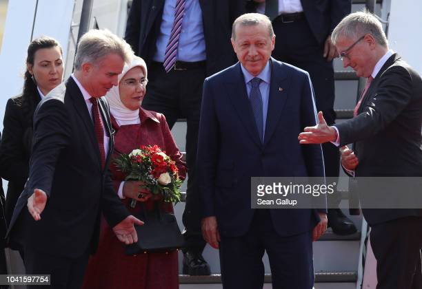 Turkish President Recep Tayyip Erdogan and his wife Ermine arrive at Tegel Airport on September 27 2018 in Berlin Germany Erdogan is coming for a...