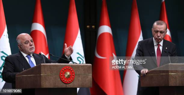 Turkish President Recep Tayyip Erdogan and Iraqi Prime Minister Haider alAbadi hold a joint press conference following their meeting at the...