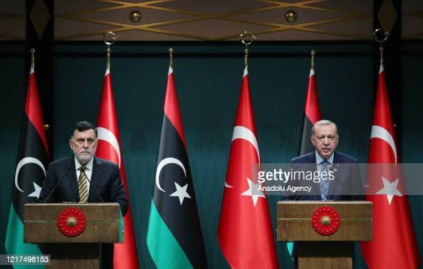 Turkish President Recep Tayyip Erdogan and Libyan Prime Minister Fayez al-Sarraj hold a joint press conference at Presidential Complex in Ankara,...