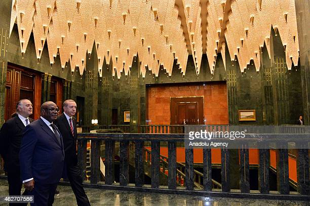 Turkish President Recep Tayyip Erdogan and Mali's President Ibrahim Boubacar Keita attend a meeting after a welcoming ceremony at the Presidential...