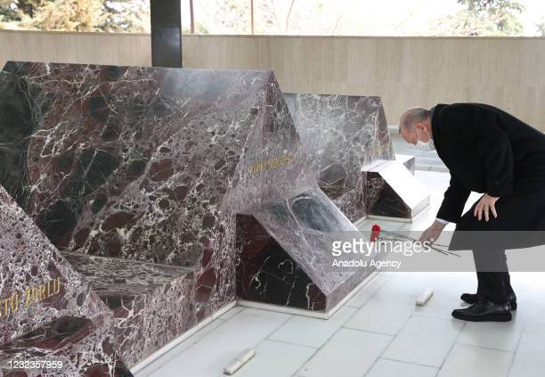 Turkish President Recep Tayyip Erdogan and other officials visit the mausoleum of former Turkish Prime Minister Adnan Menderes and graves of the...