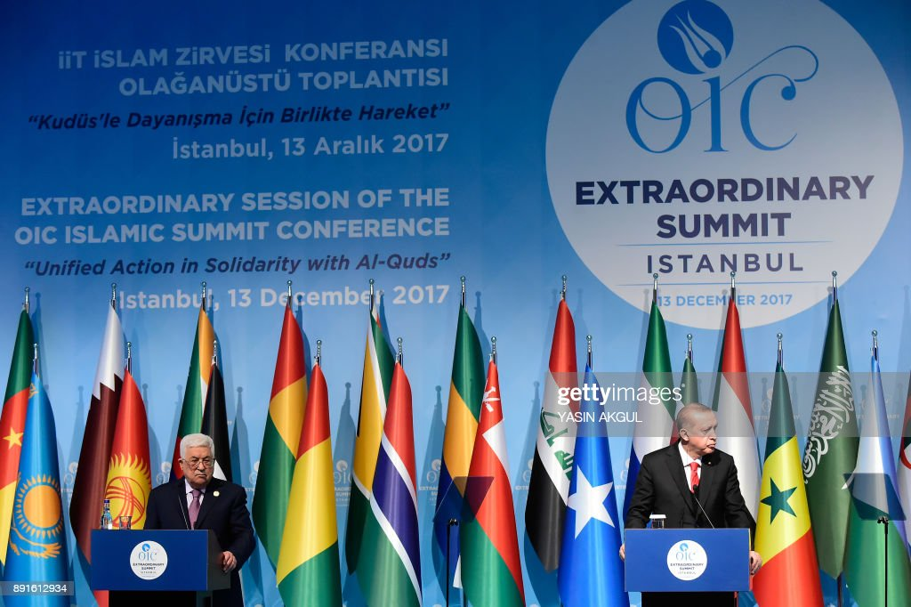 Turkish President Recep Tayyip Erdogan (R) and Palestinian President Mahmoud Abbas (L) hold a press conference following the Extraordinary Summit of the Organisation of Islamic Cooperation (OIC) on last week's US recognition of Jerusalem as Israel's capital, on December 13, 2017, in Istanbul. Islamic leaders on December 13 urged the world to recognise occupied East Jerusalem as the capital of Palestine, as Palestinian president Mahmoud Abbas warned the United States no longer had any role to play in the peace process. /
