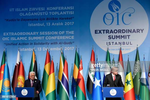 Turkish President Recep Tayyip Erdogan and Palestinian President Mahmoud Abbas hold a press conference following the Extraordinary Summit of the...