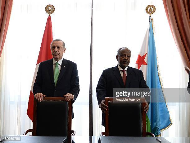 Turkish President Recep Tayyip Erdogan and President of Djibouti Ismail Omar Guelleh hold a press conference in Djibouti City Djibouti on January 24...