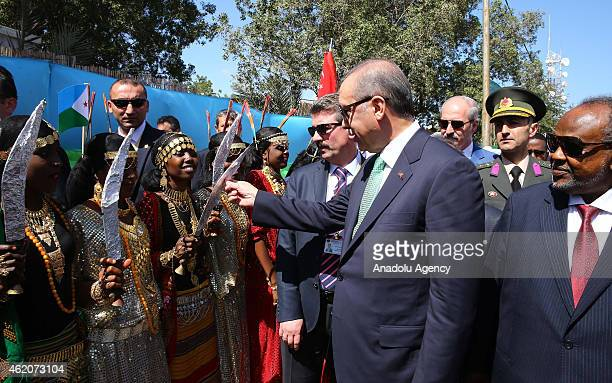 Turkish President Recep Tayyip Erdogan and President of Djibouti Ismail Omar Guelleh are welcomed by Djiboutian people ahead of groundbreaking...