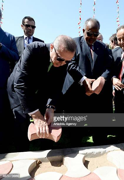 Turkish President Recep Tayyip Erdogan and President of Djibouti Ismail Omar Guelleh attend groundbreaking ceremony of Istanbul Square and Burhan Bey...