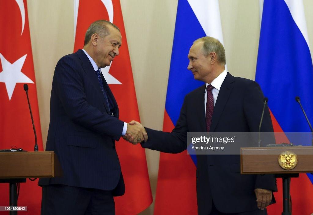 Recep Tayyip Erdogan - Vladimir Putin meeting in Russia : News Photo