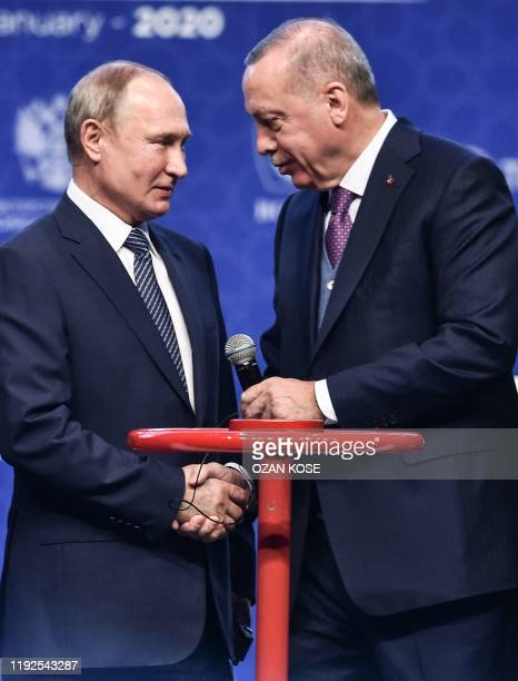 Turkish President Recep Tayyip Erdogan and Russian President Vladimir Putin attend an inauguration ceremony of a new gas pipeline TurkStream on...