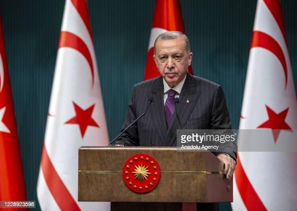 Turkish President Recep Tayyip Erdogan and Turkish Cypriot Prime Minister Ersin Tatar attend 'Water Supply Ceremony following the Repairing of...