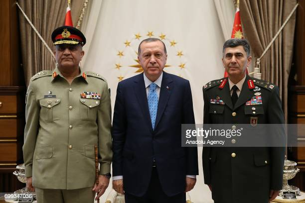 Turkish President Recep Tayyip Erdogan and Turkish Land Forces Commander Salih Zeki Colak meet with Pakistan Chief of Army Staff Gen Qamar Javed...