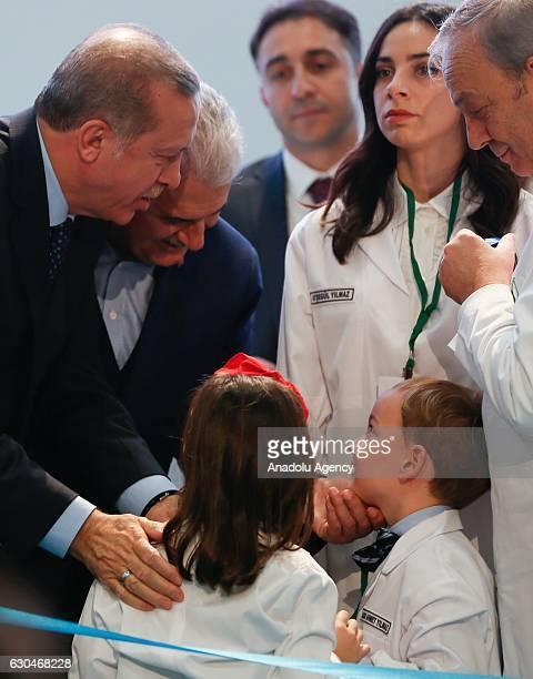 Turkish President Recep Tayyip Erdogan and Turkish Prime Minister Binali Yildirim attend the opening ceremony of SUTAS Ege dairying project in Tire...
