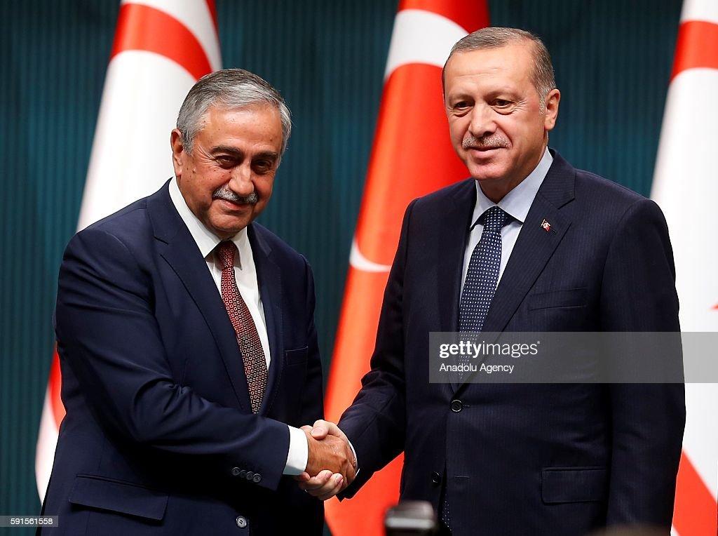 Turkish President Erdogan meets Turkish-Cypriot President Akinci in Ankara : News Photo