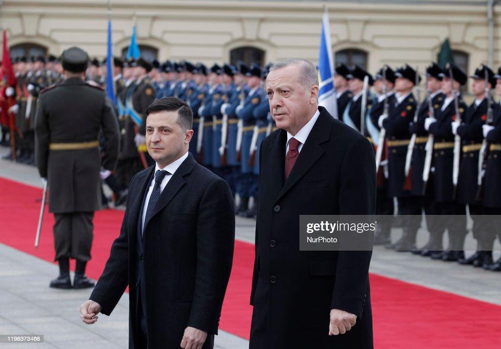 Turkish President Recep Tayyip Erdogan Visits In Ukraine : News Photo