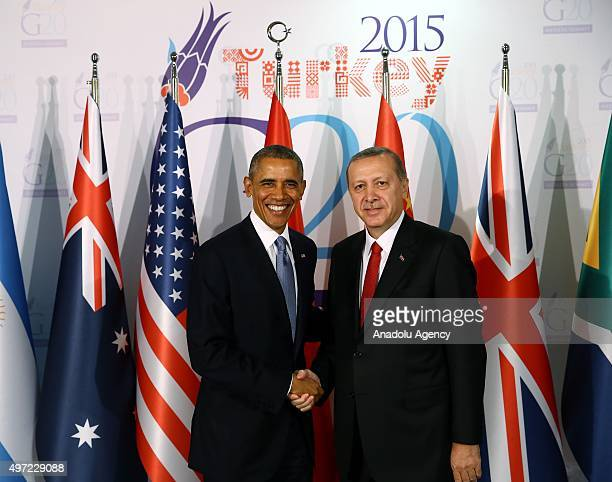 Turkish President Recep Tayyip Erdogan and US President Barack Obama pose for photographers prior to a bilateral meeting as a part of G20 Turkey...