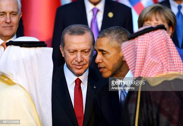 Turkish President Recep Tayyip Erdogan and US President Barack Obama attend the family photo during the G20 Turkey Leaders Summit on November 15 2015...