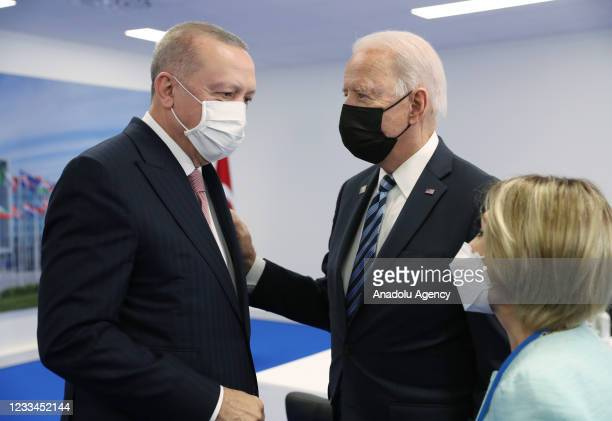 Turkish President Recep Tayyip Erdogan and US President Joe Biden hold a meeting at the NATO summit at the North Atlantic Treaty Organization...