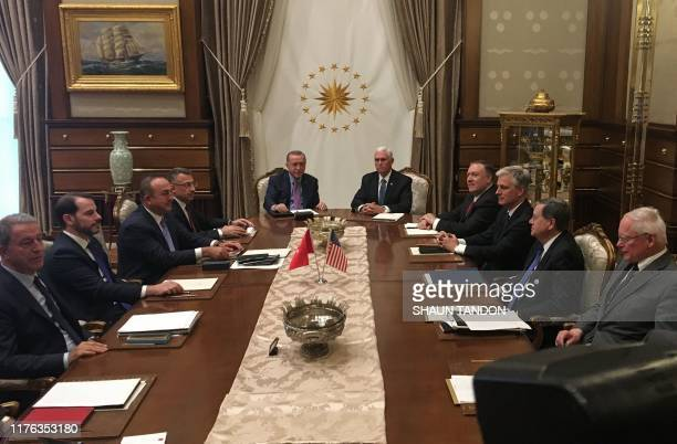 Turkish President Recep Tayyip Erdogan and US Vice President Mike Pence , joined by Secretary of State Mike Pompeo , Turkish Vice President Fuat...