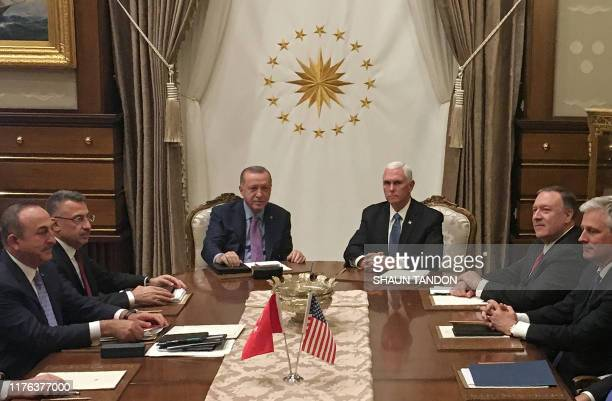 Turkish President Recep Tayyip Erdogan and US Vice President Mike Pence joined by Secretary of State Mike Pompeo Turkish Vice President Fuat Oktay...