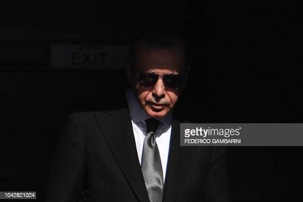 TOPSHOT Turkish President Recep Tayyip Erdogan arrives at at Cologne's airport on September 29 2018 in Cologne where he is to inaugurate the Central...