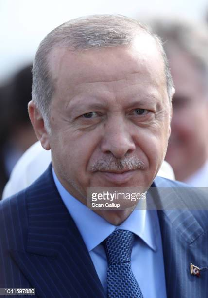 Turkish President Recep Tayyip Erdogan arrives at Tegel Airport on September 27 2018 in Berlin Germany Erdogan is coming for a threeday visit to...