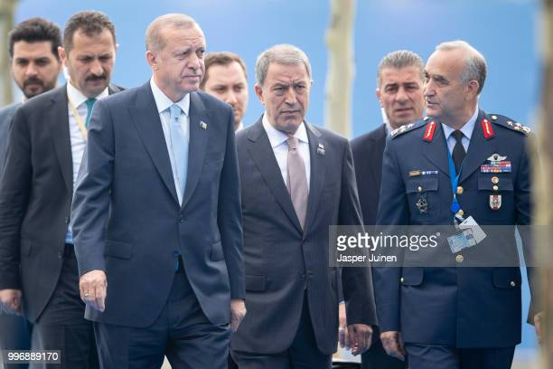 Turkish President Recep Tayyip Erdogan arrives at the 2018 NATO Summit at NATO headquarters on July 12 2018 in Brussels Belgium Leaders from NATO...