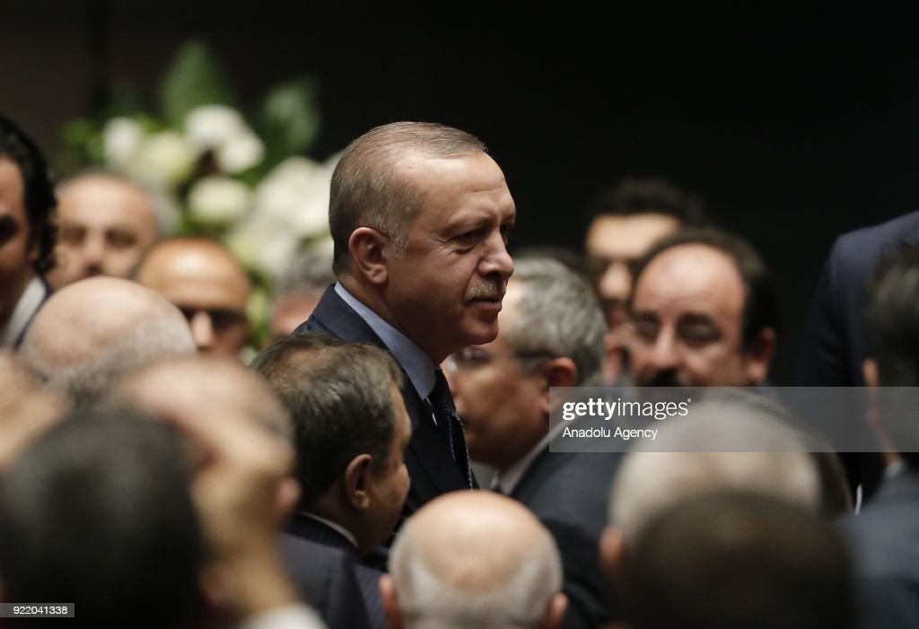 Turkish President Recep Tayyip Erdogan arrives at the Bestepe National Congress and Culture Center to attend the 11th Development Plan Publicity Meeting in Ankara, Turkey on February 21, 2018.