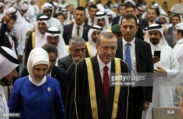 Turkish President Recep Tayyip Erdogan attends a ceremony at the Qatar University where he received Honorary PHD in Doha Qatar in December 02 2015