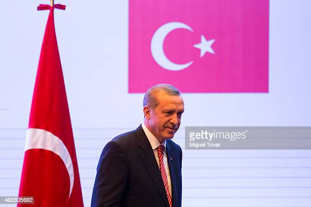 Turkish President Recep Tayyip Erdogan attends a conference at the mexican foreign secretary on February 12 2015 in Mexico City Mexico President...