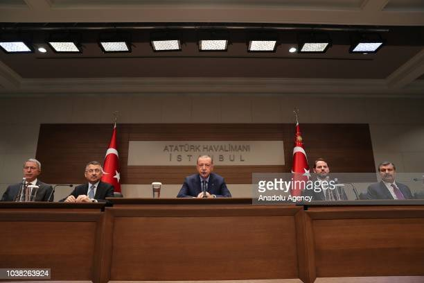 Turkish President Recep Tayyip Erdogan attends a press conference at Ataturk International Airport before leaving for New York ahead of 73rd session...