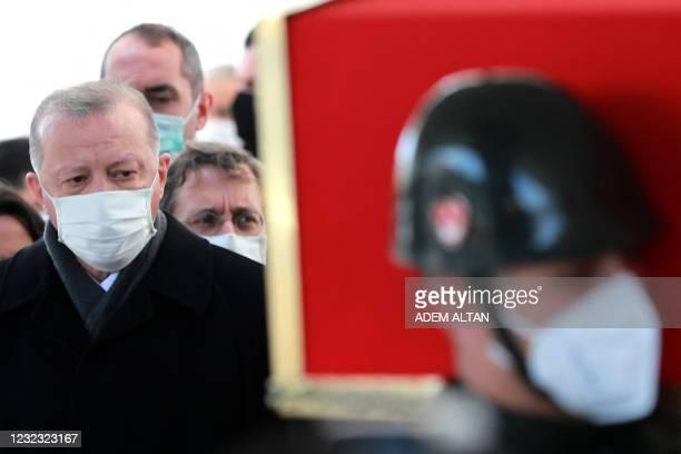 Turkish President Recep Tayyip Erdogan attends the funeral of former Turkish Prime Minister Yildirim Akbulut, who passed away on April 14, at Ahmet...
