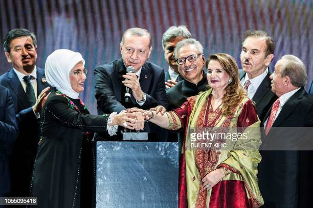 Turkish President Recep Tayyip Erdogan attends the opening ceremony of Istanbul's new international airport in the Arnavutkoy district on the...