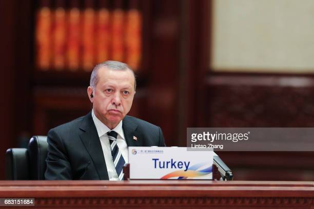 Turkish President Recep Tayyip Erdogan attends the Roundtable Summit Phase One Sessions of Belt and Road Forum at the International Conference Center...