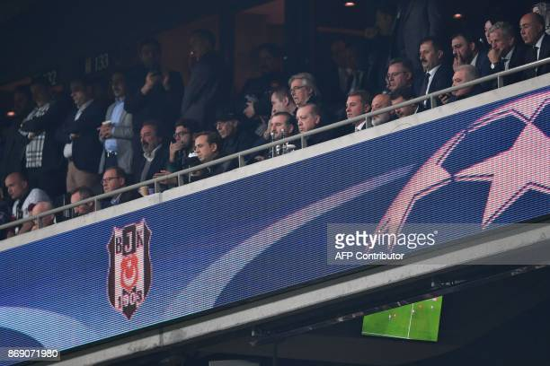 Turkish President Recep Tayyip Erdogan attends the UEFA Champions League Group G football match between Besiktas and Monaco on November 1 at the...