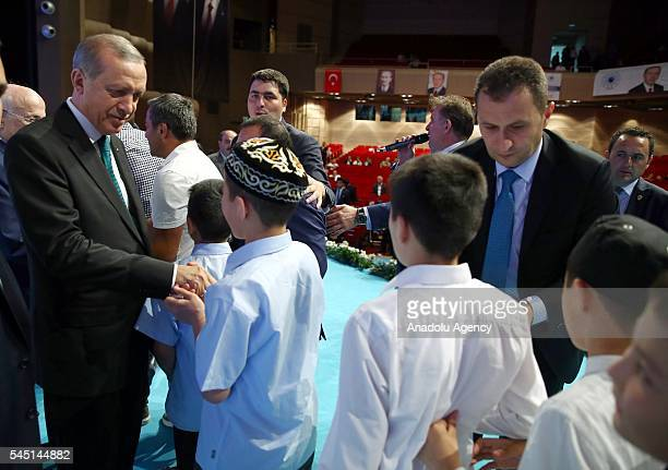 Turkish President Recep Tayyip Erdogan congratulates the people's eid during an event to mark Eid alFitr at Halic Congress Center in Istanbul Turkey...