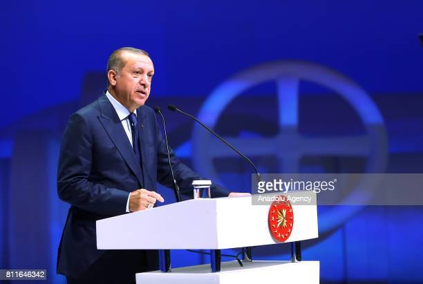 Turkish President Recep Tayyip Erdogan delivers a speech during 22nd World Petroleum Congress the largest meeting of oil and gas industry at Istanbul...