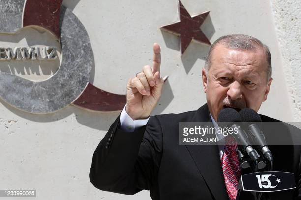 Turkish President Recep Tayyip Erdogan delivers a speech during a commemorative ceremony marking the fifth anniversary of failed coup at the Turkish...