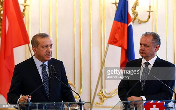 Turkish President Recep Tayyip Erdogan delivers a speech during a joint press conference with his Slovakian counterpart Andrej Kiska after their...