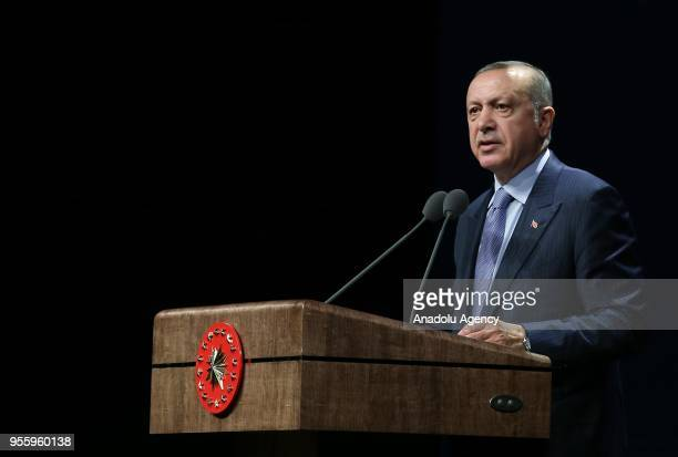Turkish President Recep Tayyip Erdogan delivers a speech during a mass opening of the Foundation Week and restoration of 250 works completed in seven...